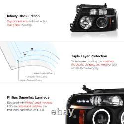 04-08 Ford F150 F-150 LOBO Black HALO LED DRL Projector Headlight Lamp LH+RH