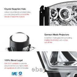 06-08 Dodge Ram Truck PickUp LED Halo Angel Eye Projector Head Light Pair Lamp
