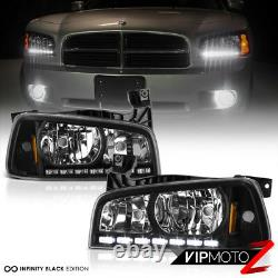 06-10 Dodge Charger Direct Fit Black LED DRL Upgrade Replacement Headlight Set