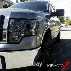 09-14 Ford F150 Pickup Truck LED DRL Dual Halo Smoke Projector Headlight L+R Set