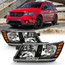 09-18 Dodge Journey Factory Style Black Replacement Headlight Lamp LEFT+RIGHT