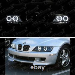 1996-2002 BMW Z3 M-POWER Black Angel Eye Halo Ring Projector Headlights LH+RH