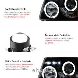 2001-2011 Ford Ranger SINISTER BLACK Corner Halo LED Projector Headlights Lamp