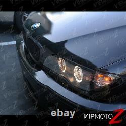 2003-2006 BMW E46 2DR Coupe 325ci 330ci Black Angel Eye Halo Projector Headlight