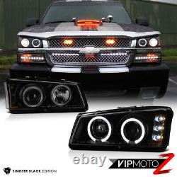 2003-2006 Chevy Silverado SINISTER BLACK 03-05 Avalanche Halo LED Headlights