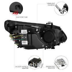 2004-2007 BMW 5-SERIES E60 E61 Black CCFL Angel Eye Projector Headlights LH+RH
