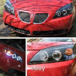 2005-2010 Pontiac G6 GT Base Black HALO+LED Projector Headlights Headlamps Set