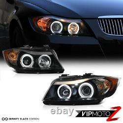 2006-2008 BMW E90 3-Series Sedan Black LED Angel Eye Halo Projector Headlights