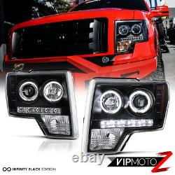 2009-2014 Ford F150 F-150 Black Halo LED Projector Headlights DRL SMD LEFT+RIGHT