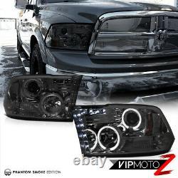 2009-2018 Dodge Ram 1500 2500 3500 Smoke Halo LED Projector Headlights Lamp PAIR