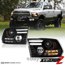 2009-2018 Dodge Ram 1500 2500 3500 TRIBAL VERSION Black LED DRL Headlights Set