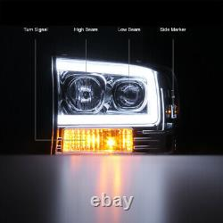 99-04 Ford F250 F350 SuperDuty Neon LED Tube DRL 1PC Projector Headlight Pair