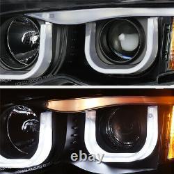 BMW E46 3-SERIES 325/330 Sedan Euro Black 3D U-Bar Halo Projector Headlight Lamp