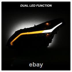 DARKEST SMOKE Neon Tube Projector Headlights For 10-13 Infiniti G37 G25 Sedan
