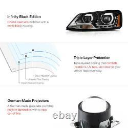 DUAL PROJECTOR 2011-2018 Volkswagen Jetta LED DRL Black Headlights Lamps Pair