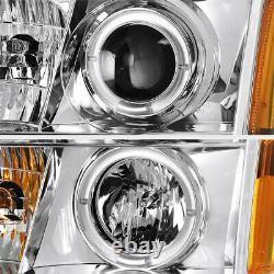 Euro Chrome Halo LED DRL HID Projector Headlight For 2003-2006 CADILLAC ESCALADE