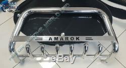 FITS VW VOLKSWAGEN AMAROK BULL BAR CHROME AXLE NUDGE A-BAR 60mm 2009-2016 LOGO
