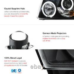 For 01-11 Ford Ranger Pair L+R Dual Halo LED DRL Black Projector Headlight Lamp