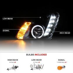 For 03-04 Infiniti G35 4DR Sedan Black Projector Halo LED Headlight Left Right