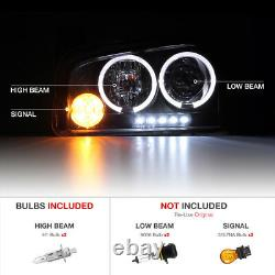 For 06-10 Dodge Charger SINISTER BLACK Quad Halo LED Projector Headlights Lamp
