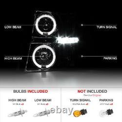 For 07-14 Chevy Silverado 1500 2500HD 3500HD Chrome Halo LED Projector Headlight