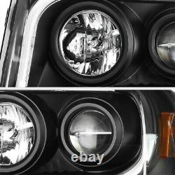 For 07-14 Ford Expedition SUV Arctic Optic Black Projector LED Neon Headlights