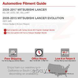 For 08-17 Mitsubishi Lancer DARKEST SMOKE Factory Style Headlight Lamp PAIR