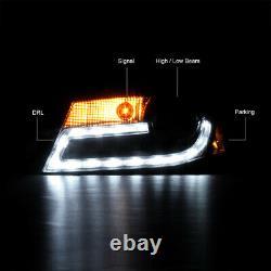 For 09-12 Audi A4 B8 Infinity Black Projector Headlight DRL LED Light Bar Euro