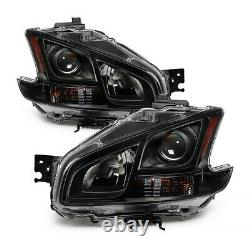 For 09-13 Nissan Maxima Black Crystal Clear Projector Headlight Lamp Left+Right
