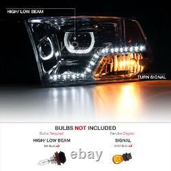 For 09-18 Dodge Ram 1500 2500 3500 Halo Angel Eye LED Strip Projector Headlight