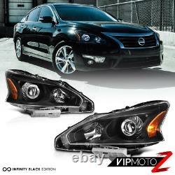 For 13-15 Nissan Altima FACTORY STYLE Black Projector Headlight Lamp Assembly