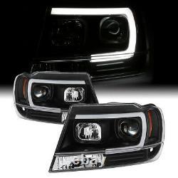 For 99-04 Jeep Grand Cherokee Black Projector Headlight C-Shape Neon Tube LED