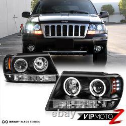 For 99-04 Jeep Grand Cherokee WJ WG Black LED Halo Angel Eye Projector Headlight