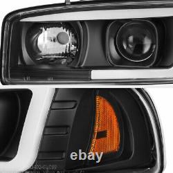 For 99-06 GMC Sierra Yukon Black LED Neon Tube DRL Lamp Projector HeadLight L+R