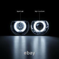 For Xenon HID Model 2008-2014 Dodge Challenger CCFL Halo Black Headlights PAIR