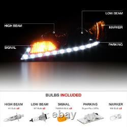 LED STRIP DRL For 11-20 Toyota Sienna L LE XLE Black Headlight SET Replacement