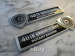 Mazda OEM Genuine 40th Anniversary Rotary Engine Front Fender Emblems Badge RX-8
