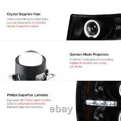 SINISTER BLACK 2007-2013 Chevy SIlverado 1500 2500HD 3500HD Halo LED Headlight