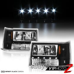 SO COOL For 93-98 Jeep Grand Cherokee ZJ Black LED DRL System Headlights L+R