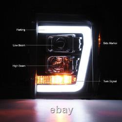 11-16 Ford F250 F350 Superduty Noir Oled Neon Tube Lampe Phare De Projecteur Drl