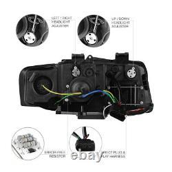 2002-2005 Audi A4/s4 Euro Black Projector Headlight+led Neon Drl Lampes De Course