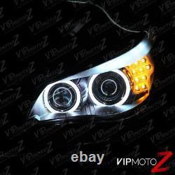 2004-2007 Bmw 5-séries E60 E61 Black Ccfl Angel Eye Projector Phares Lh+rh