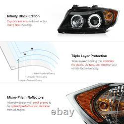 2006-2008 Bmw E90 Série 3 Sedan Black Led Angel Eye Halo Projecteur Phares