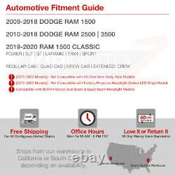 2009-2018 Dodge Ram 1500 2500 3500 Smoke Halo Led Projecteur Phares Lampe Pair