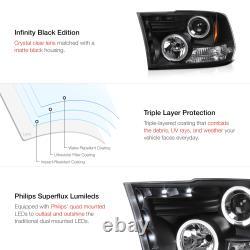 Angel Eye Halo Led Projecteur Phares Noirs Fit 09-18 Dodge Ram 1500 2500 3500