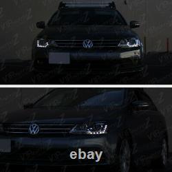 Dual Projecteur 2011-2018 Volkswagen Jetta Led Drl Phares Noirs Paire De Lampes