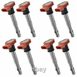 Ignition Coil Red Set Of 8 Pour Audi A4 A5 A6 A7 A8 Q7 R8 S4 S5 S6 S8 Vw Touareg