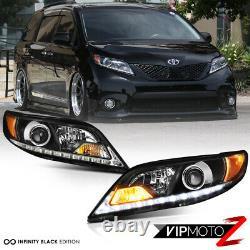 Led Strip Drl Pour 11-20 Toyota Sienna L Le Xle Black Headlight Set Remplacement