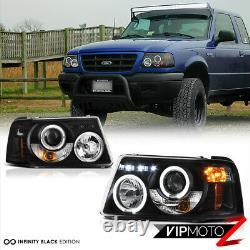 Pour 01-11 Ford Ranger Pair L+r Dual Halo Led Drl Lampe Phare De Projecteur Noir