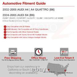 Pour 02-05 Audi A4 S4 B6 Sedan Wagon 1.8 3.0 Quattro Black Headlight Left+right